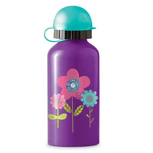 Crocodile Creek Trinkflasche mit Blumen - Motiv, lila, 0,400 L.