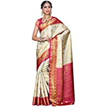 Mimosa Women's Traditional Art Silk Saree Kanjivaram Style With Blouse Color:Off White(3300-225-HWT-RNI)