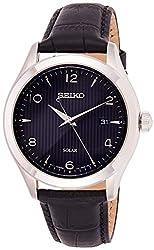 Seiko Herren Analog Solar Uhr mit Leder Armband SNE491P1