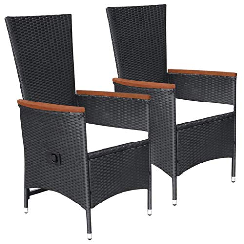 mewmewcat Gartensessel Liegestühle 2 STK mit Verstellbare Rückenlehne, aus Poly-Rattan + Stahlrahmen + Akazienholz-Armlehnen, Schwarz, 58 x 62 x 108 cm - Gartenmöbel balkonmöbel