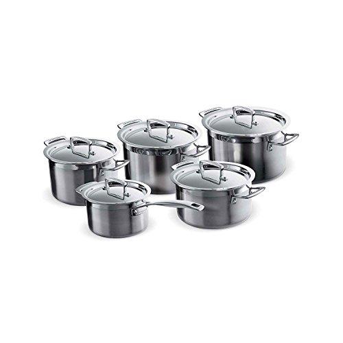 Le Creuset - Bateria de cocina de 5 piezas de acero inoxidable, color plateado
