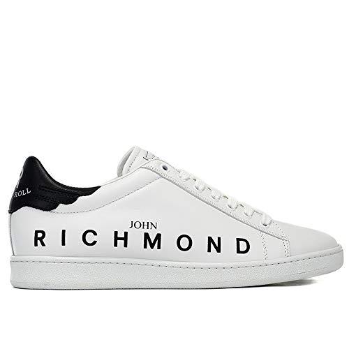John Richmond 7008 B Herren-Sneaker aus weißem Leder mit schwarzem Aufnäher und seitlichem Logo, Weiß - weiß/schwarz - Größe: 40 EU