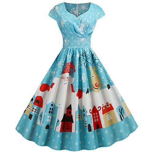 Auiyut Damen A-Linie Kleid Festliches Kleid Cocktailkleider Cap Sleeves Rockabilly Kleid V-Ausschnitt Partykleid Vintage Weihnachten Kostüm Bankett Kleider Kurzarm Faltenrock