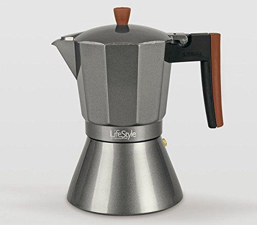 Life Style - Caffettiere Espresso - Buon Caffe - Stile Italiano - Alluminio Nero (12 Tazze)