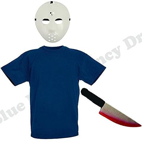 Blue Planet Fancy Dress ® Childrens Kids Jason Fancy Dress Costume Halloween (Top,Hockey Mask,Fake Knife) (7-8