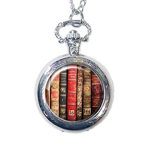 uhr Halskette, Buch, Bibliothek, Geschichte, Roman, Vintage Messing Taschenuhr (Geschichte Pocket Watch)