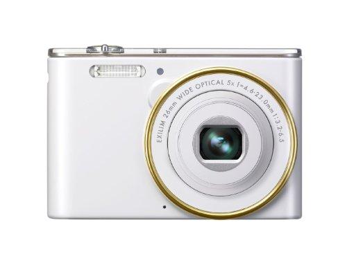 Casio Exilim EX-JE10 Digitalkamera (16,1 Megapixel, 6,9 cm (2,7 Zoll) Display, 5-fach opt. Zoom, HD-Videoaufnahme, 26mm Weitwinkeloptik) weiß