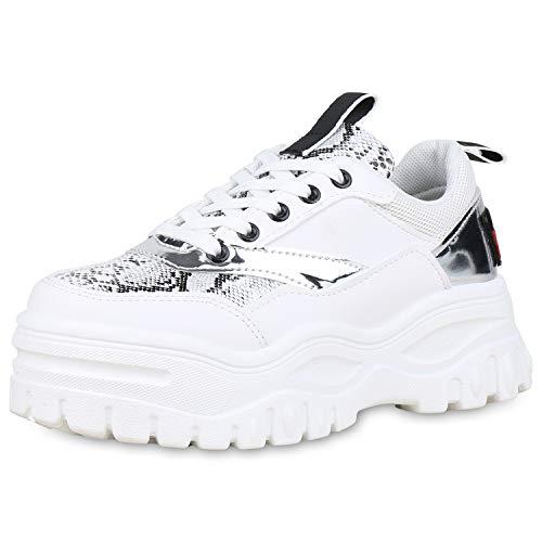 SCARPE VITA Damen Chunky Plateau Sneaker Leder-Optik Schuhe Schnürer Metallic Lack Freizeit Turnschuhe Snake Print Plateauschuhe 176706 Weiss 38 Snake Print Schuhe