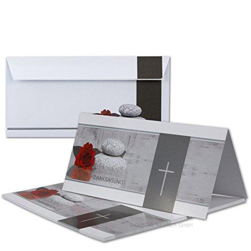 25 x Trauer-Set // Danksagungs-Trauer-Doppelkarten mit Umschlägen DIN Lang 21 x 19,8 cm // Hochglanz // Serie: Mathilde