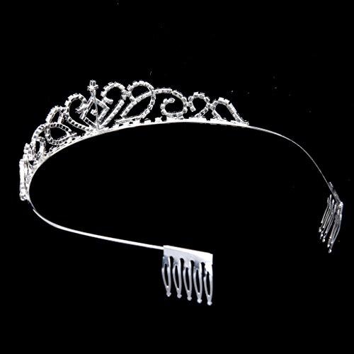 Nupcial Tiara Corona Diadema con Peineta Adornada con Brillantes Rhinestones