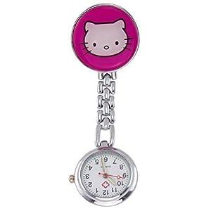 Century Ansteckuhren Klippuhren Bunte Auswahl an Sister Uhren Pulsuhren Schwesternuhren für Pflegekräfte (Kätzchen pink)
