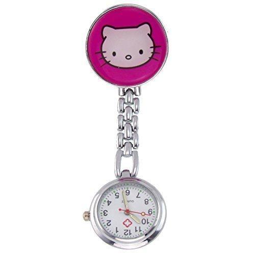 Ansteckuhren Klippuhren bunte Auswahl an Sister Uhren Pulsuhren Schwesternuhren für Pflegekräfte (Kätzchen pink)