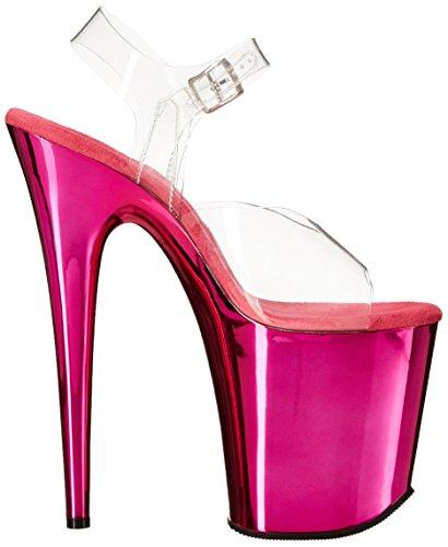 Pleaser Flamingo-808, Sandales Bout Ouvert Femme Morado - Rosa fluorescente