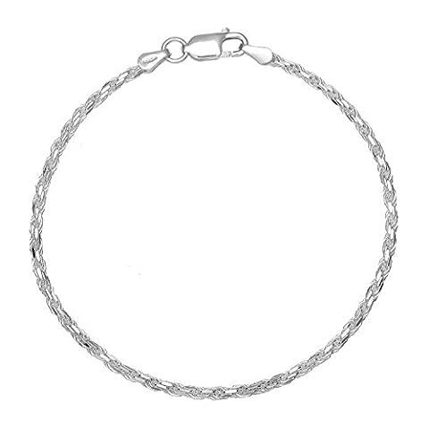 Adara Diamond Cut Rope Sterling Silver Bracelet of Length 19.5 cm