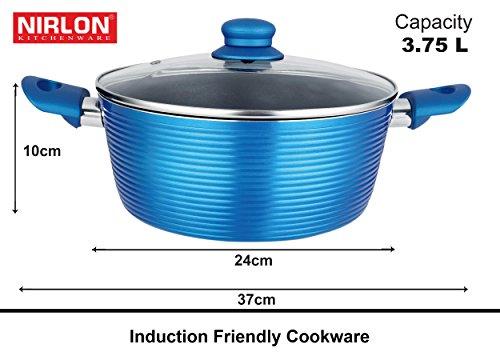 Nirlon Aluminium Cookware Set, 3-Pieces, Blue (Forged_KD22+CASS24+CS20)