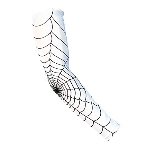 Netz Arm Warmers (Spinnen-Netz Protective Elbow Sleeve Anti-Skid Elbow-Wärmer Sleeves Für Radfahren weiß XL Professional Spinnennetz Protective Elbow Sleeve Anti-Skid Elbow-Wärmer Sleeves für Outdoor-Sportarten Laufen)