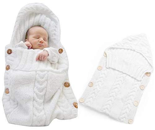 Neugeborenes Baby Gestrickt Wickeln Swaddle Decke Schlafsack für 0-12 Monat Baby (white)
