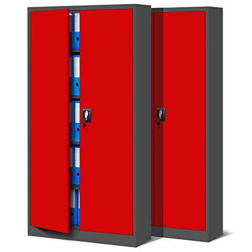 2er Set Aktenschrank C001 Metallschrank Stahlschrank Stahlblech Werkzeugschrank Büroschrank Schrank Universalschrank Flügeltürschrank 185 cm x 90 cm x 40 cm (dunkelgrau/rot)