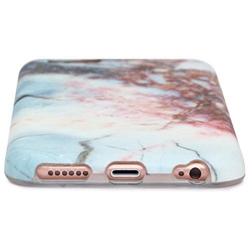 Schutzhülle für Apple iPhone 6 / 6S [Marmor / Marble] Design - Hard case cover Viele Varianten (Weiß - Marble) von Panelize C. & A. Weiß Rot