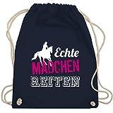Reitsport - Echte Mädchen reiten - Unisize - Navy Blau - WM110 - Turnbeutel & Gym Bag