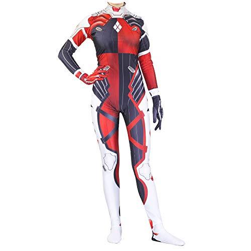 Frauen Clown Cosplay Kostüm Film Spiel Harley Quinn Rollenspiel Kleidung Bodysuit Spandex Jumpsuits ()