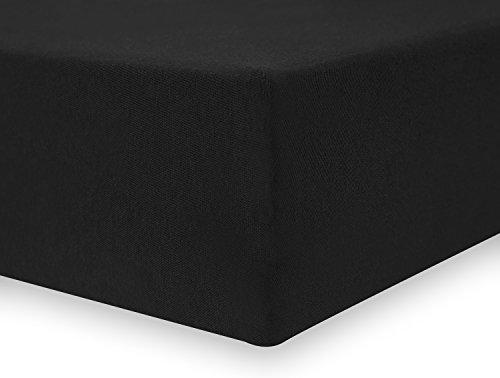DecoKing 17401 80x200-90x200 cm Spannbettlaken schwarz 100% Baumwolle Jersey Boxspringbett Spannbetttuch Bettlaken Betttuch Black Amber Collection - 4