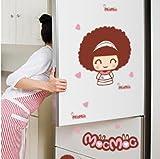 GOUZI Cute Cartoon Kühlschrank Fliese Glas Wasserwand Mädchen Morse Puppen, Puppen und Mousse abnehmbare Wall Sticker für Schlafzimmer Wohnzimmer Hintergrund Wand Bad Studie Friseur