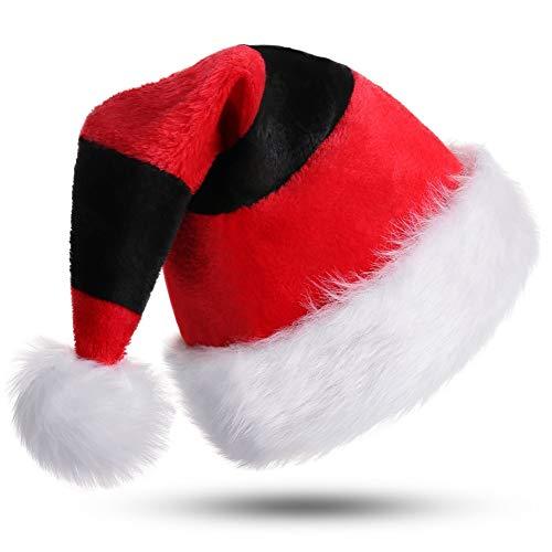 CITÉTOILE Weihnachtsmütze, Unisex-Erwachsene Partyhut Deluxe Velvet Comfort Liner Dekorationen Geschenke Kostüm für Xmas Party Halloween Neuheit Stripe Red & Black