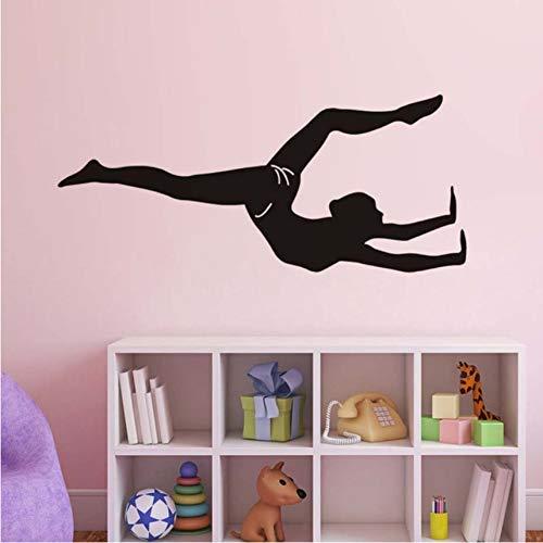 Finloveg Sport Mädchen Turnerin Yoga Wandaufkleber Raumdekoration Vinyl Abnehmbare Tapete Poster Wohnzimmer Dekoration Zubehör