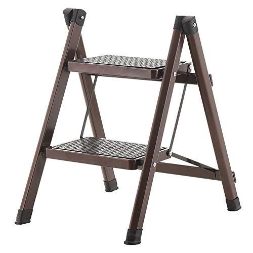 Tritthocker Faltende Stufenleiter für Erwachsene, 330lbs Kapazität, rutschfeste 2-Stufen-Hocker für Küchen- / Büroreinigung, Bügeleisen-breite Pedalleiter (Farbe : Dunkelbraun)