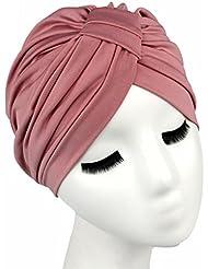 QHGstore El abrigo de pelo de color de Soild de las mujeres cubre encima de sombreros indios del turbante Casquillos de Modal rosado