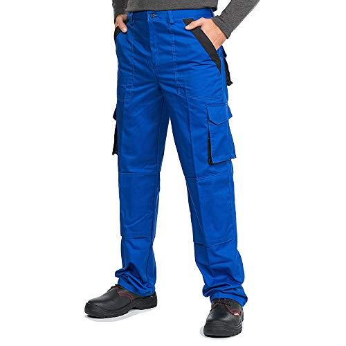 Mazalat® Pantalons de Travail pour Hommes avec des Poches genouillères, Pantalon Cargo Homme Multi Poches, Made in EU (L, Bleu)