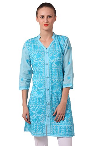 Saadgi Chikankari Kurti/Kurta for Women - Double Thread Work & Pure Cotton...