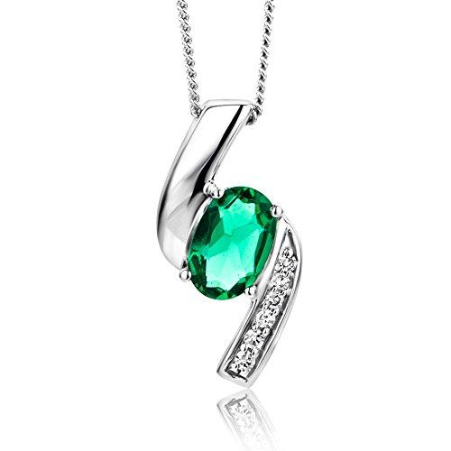 Orovi collana - pendente - ciondolo donna con catena in oro bianco con diamanti taglio brillante e smeraldo ovale ct 0.35 oro 9 kt/375 catenina cm 45