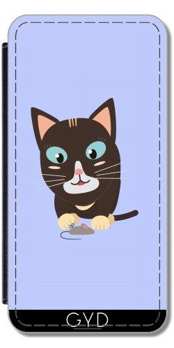 Leder Flip Case Tasche Hülle für Apple iPhone 5/5S - Katze Mit Spielzeug-Maus by ilovecotton
