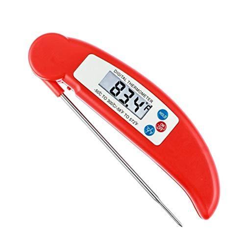 W&Z Thermometer Küche Digital Meat Thermometer Instant Lesen Sie Cooking Thermometer mit Faltprobe für Flüssigmilch Kaffee Grill Grill Grill Fleisch,Red -