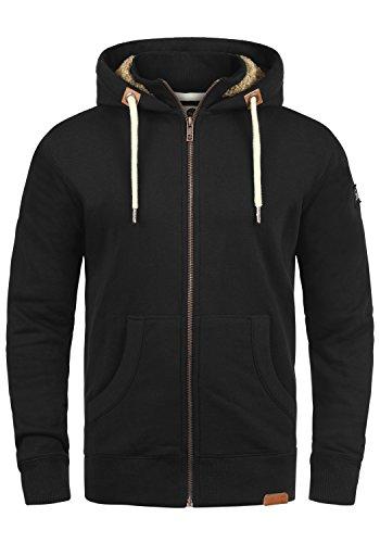 !Solid Trip-Zip Pile Herren Sweatjacke Kapuzen-Jacke Zip-Hoodie mit Teddy-Futter aus Hochwertiger Baumwollmischung, Größe:M, Farbe:Black Pil (P9000) -