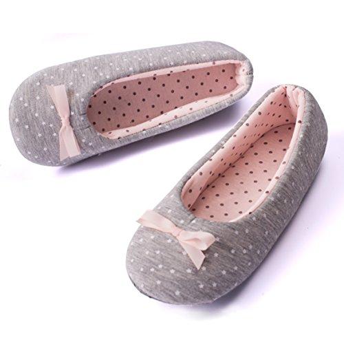 TWINS Fashion « Rio » schöne & süße Damen-Hausschuhe I Ballerinas I Pantoffeln I Slippers - Plüsch Baumwolle rutschfest - diverse Farben (40, Grau-Weiss)