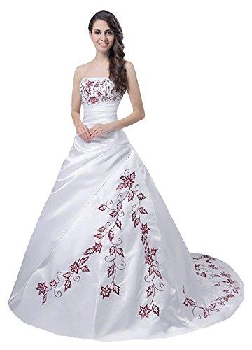 Faironly Trägerlos Weiß Rot Hochzeitskleid M56 (XXL)