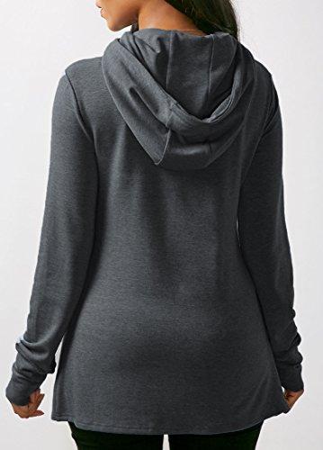 Sweat-Shirts Femme Casual Fashion à Capuche Outwear Unicolore Mince Manteau Automne et Hiver Gris