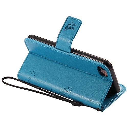 Cozy Hut Mehrfarbige PU Leder Klappe Tasche Schutz Hülle für iPhone 7 in Ölmalerei Stil Colorful Painting Flip Case KunstLedertasche Etui Schutz Hülle Handytasche mit Standfunktion Kartenfächern(Katze blau