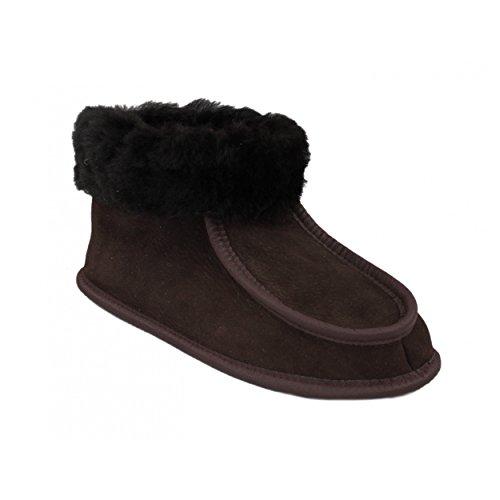 Warme Hüttenschuhe Lammfell Damen Hausschuhe Herren Lammfellschuhe mit Ledersohle Winter, Farbe: Braun, Größe: 46