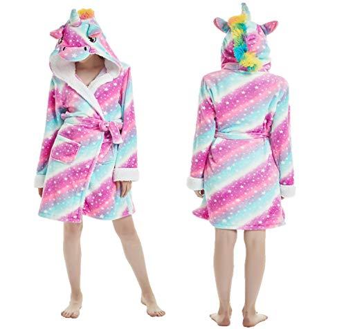 eBoutik Estrella de Chicas Arco Iris Sirena Unicornio Albornoz Bata 3D Cuerno Mágico Púrpura Rosa Amarillo Pijamas Pijamas (38/40, Pink and Blue Swirls with Stars Unicorn)