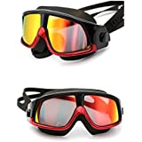 We Store1 Swim Goggles Large Frame, Colorful Swimming Glasses With Anti-Fog, UV Protection, Free Protection Case, Fit For Adult Men Women Youth