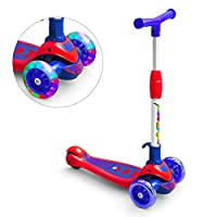 Banne Lightweight Foldable Height Adjustable 3 Wheel Scooters with Light Up Wheels for Boys Toddler Kids Girls Children Ages 3-8