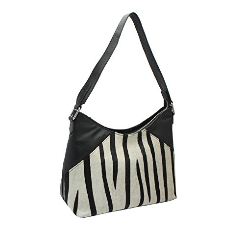 Mala Leder Ma?ra? Kollektion Leder Animal Print Schultertasche 7104_90 Zebra (Satchel Handtasche Zebra-print)