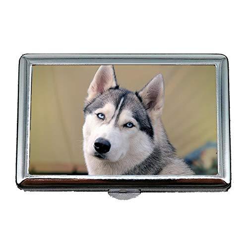 Zigarettenetui, lustiger Hund des Doge Husky, Geschäftsname-Kartenhalter