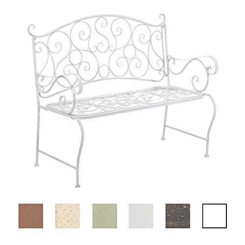 CLP Metall Gartenbank TUAN, 2-er Sitz-Bank Garten, Eisen lackiert, Design nostalgisch antik, 105 x 50 cm Antik Weiß