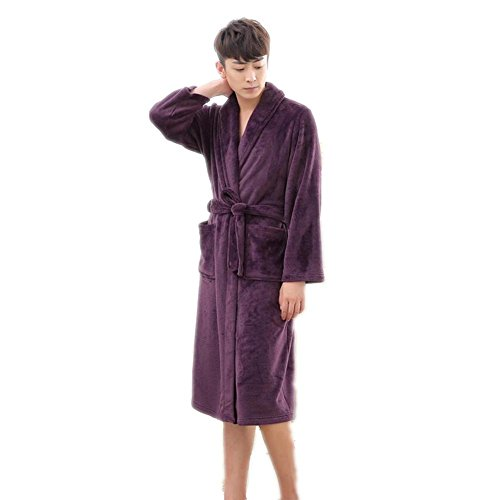 LIUDOU Sleepwear Robe flanella Abito Robe imbottito Long Sleeve Cardigan