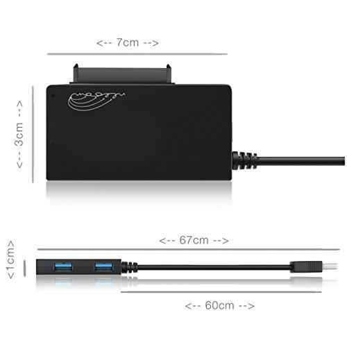 Sata USB 3.0 3 in 1 Hub Adapter zum Anschluss von 3 Geräten | Sata Adapter Konverter für Laufwerke, Festplatten USB Sticks zur perfekten Datenübertragung | [ohne Netzteil]